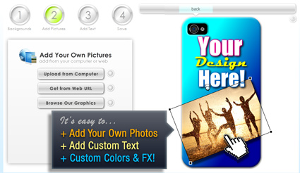 Customize your own case designs with our easy app in minutes!