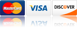 Major Credit Cards Accepted - Visa, Master Card, Discover