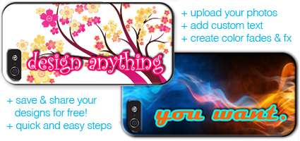 Design anything you want with your own custom case designs.